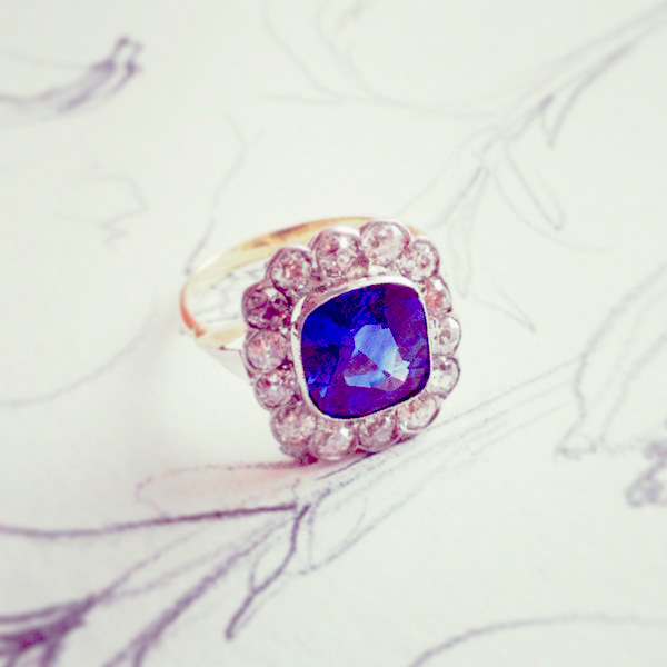 Vintage ring with blue stone