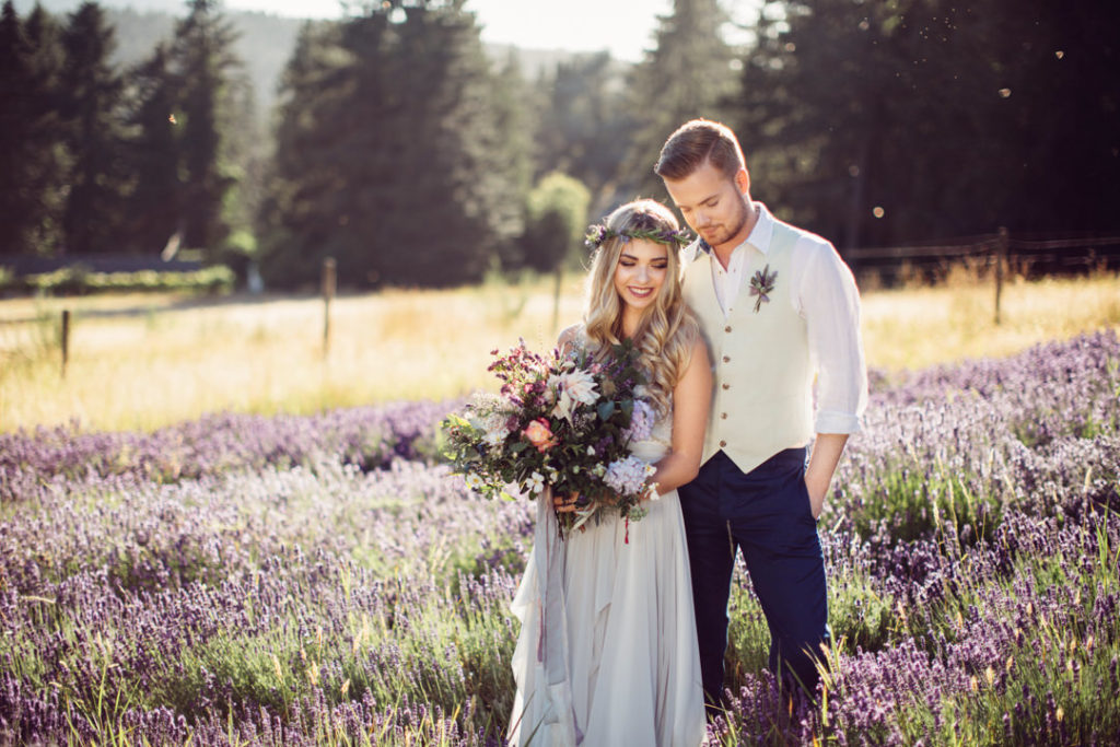 Newlyweds celebrate their wedding in nature
