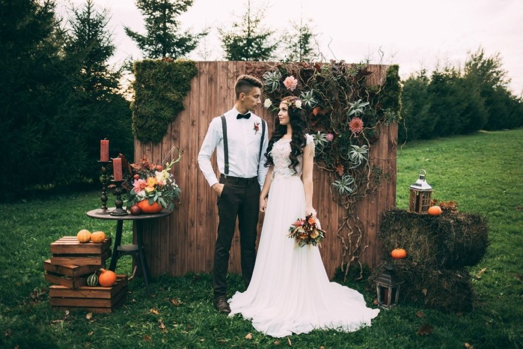 Outfits of the newlyweds in nature