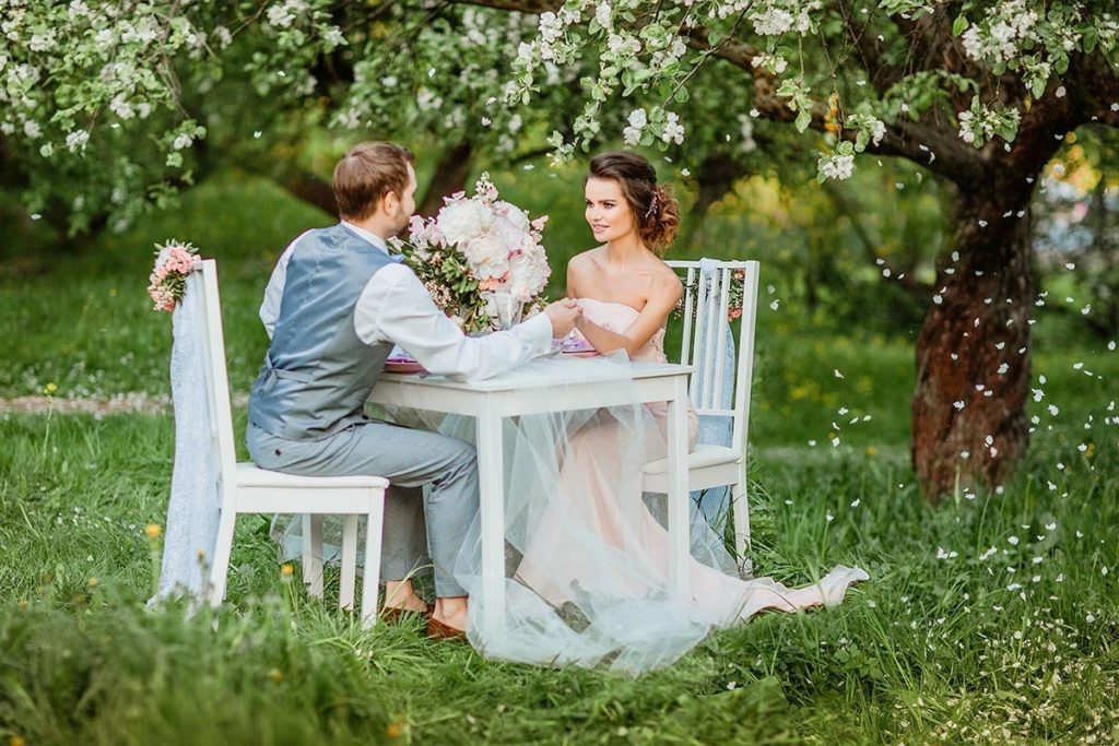 Couple in love at picnic
